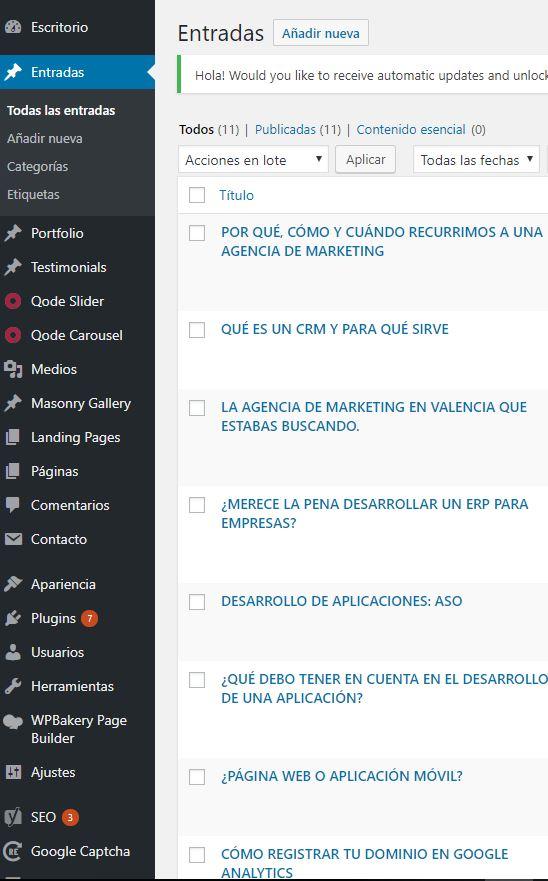 pagina web en valencia - añadir nueva