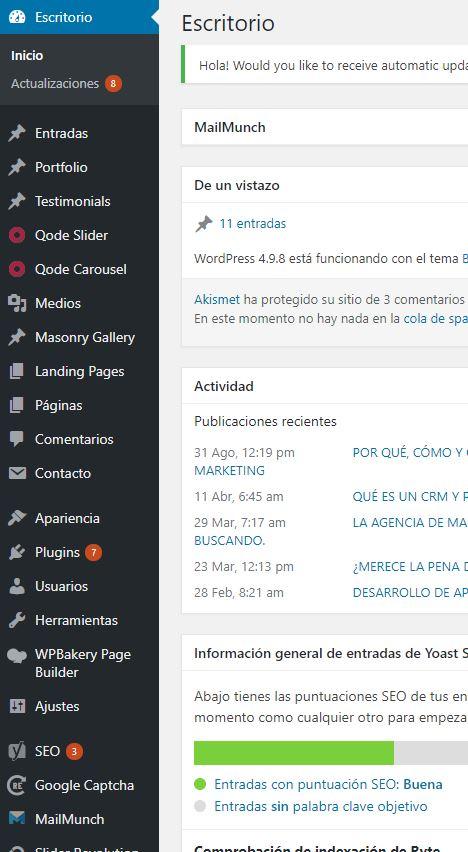 pagina web en valencia - panel control wordpress